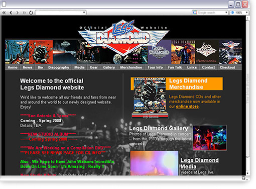 Legs Diamond Website Design