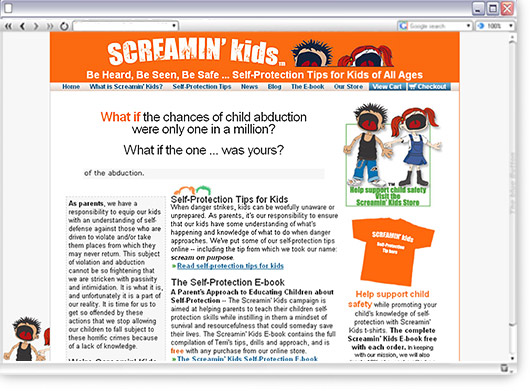screaminkids website design